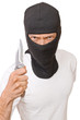 Man in black mask with knife isolated on white