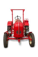Traktor rot freigestellt auf weiss