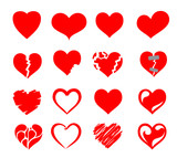 vector hearts icon set