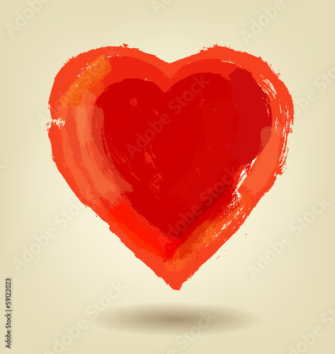 vector painted red heart