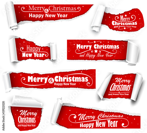 Collection of red paper with Christmas text