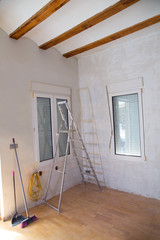 House indoor improvements plater tools and ladder