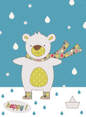 cute baby bear autumn greeting card with water drop