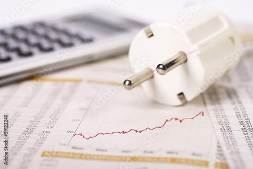 Leinwandbild Motiv Kalkulation der Stromkosten