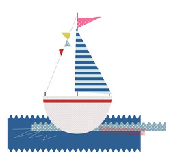 Vector baby textile stickers with cute ship