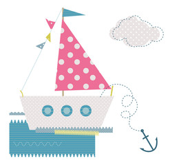 Vector baby textile stickers with cute ship and flags
