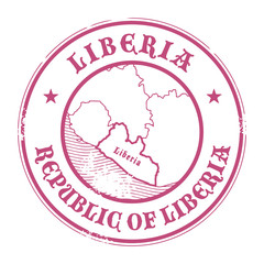 Grunge rubber stamp with the name and map of Liberia