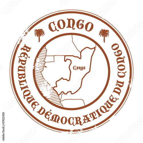 Grunge rubber stamp with the name and map of Congo, vector