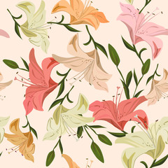 Vintage seamless pattern lily