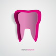 Sticker pink paper Tooth On White Background - Vector Illustrati