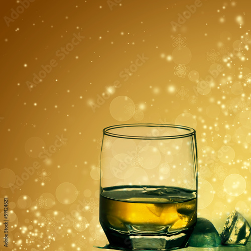 Glasses of shots on abstract background