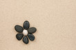 canvas print picture - flower made with stones