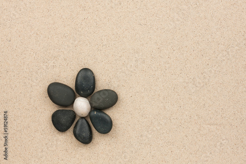canvas print picture flower made with stones