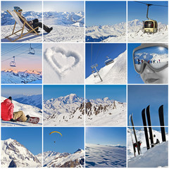 Collage carré vacances à la neige - Alpes, France