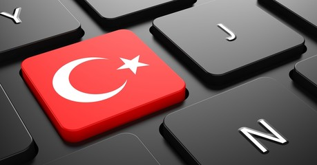 Turkey - Flag on Button of Black Keyboard.