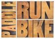 run, bike, paddle - triathlon concept