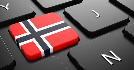 Norway - Flag on Button of Black Keyboard.