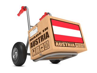 Made in Austria - Cardboard Box on Hand Truck.