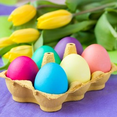 Colorful easter eggs in packing box with tulips flowers