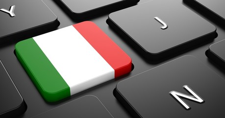 Italy - Flag on Button of Black Keyboard.