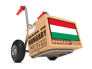 Made in Hungary - Cardboard Box on Hand Truck.