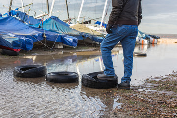 Tyres used as stepping stones
