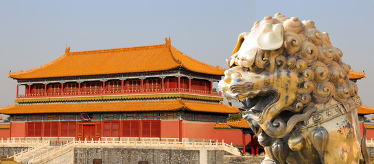 A bronze Chinese dragon statue in the Forbidden City. Beijing