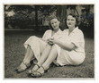Two nurses on the lawn - circa 1950
