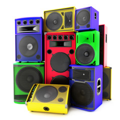 Colored group of speakers