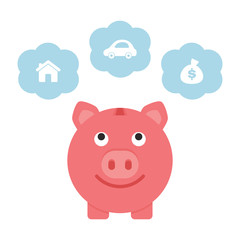Saving for the future, piggy bank