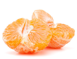 Peeled tangerine or mandarin fruit half
