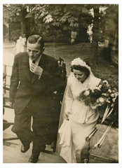 CIRCA 1950 - The bride and her father