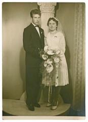 wedding day, bride and groom - circa 1955