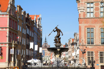 The Neptune fountain and old town of Gdansk
