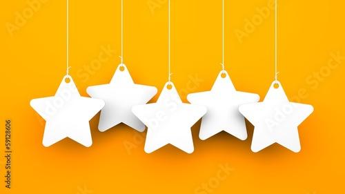 White stars on orange background
