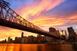 Manhattan skyline and Queensboro Bridge at sunset, New York