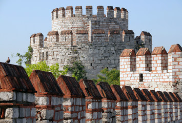 Yedikule Castle Byzantine walls in Istanbul, Turkey