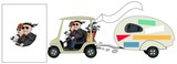 Senior Cartoon Golf Cart Couple