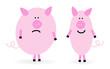 Dickes und dünnes Schwein
