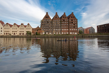 People rowing on the Motlawa River, Free City of Gdansk