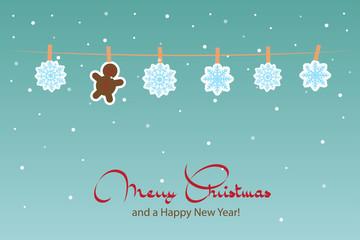 Hanging snowflakes. Vector christmas card