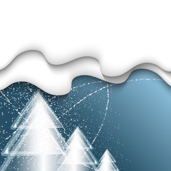 blue vector background with three Christmas trees and falling sn