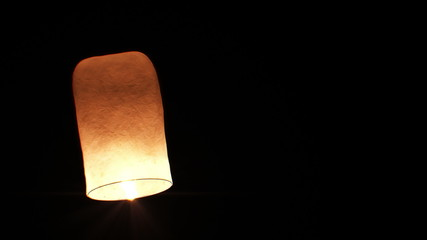 Beautiful Single Paper Lantern flying Slow. HD 1080.