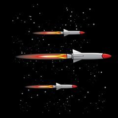 missiles fly in sky Vector illustration of war.