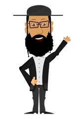 Cartoon Rabbi on a white background