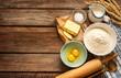 Leinwandbild Motiv Dough recipe ingredients on vintage rural wood kitchen table