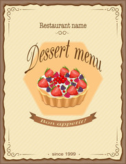 dessert menu with fruit pie