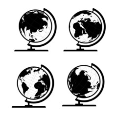 Vector set of 3D world map or globe, series 3