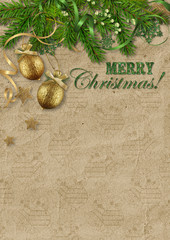Vintage Christmas card on cardboard background