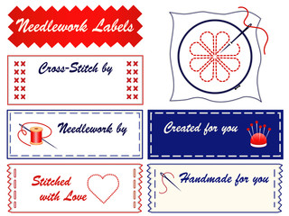 Needlework Sewing Labels, do it yourself, embroidery, copy space